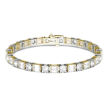 Forever One 8.32CTW Baguette & Round Colorless Moissanite Tennis Bracelet in 14K Two-Tone Gold - 7 INCHES