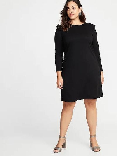 Plus-Size Ruffle-Trim Ponte-Knit Shift Dress