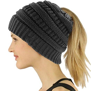 61A Cozy And Warm Hat With A Hole Designed To Fit Your Ponytail f77f6ef68d5d