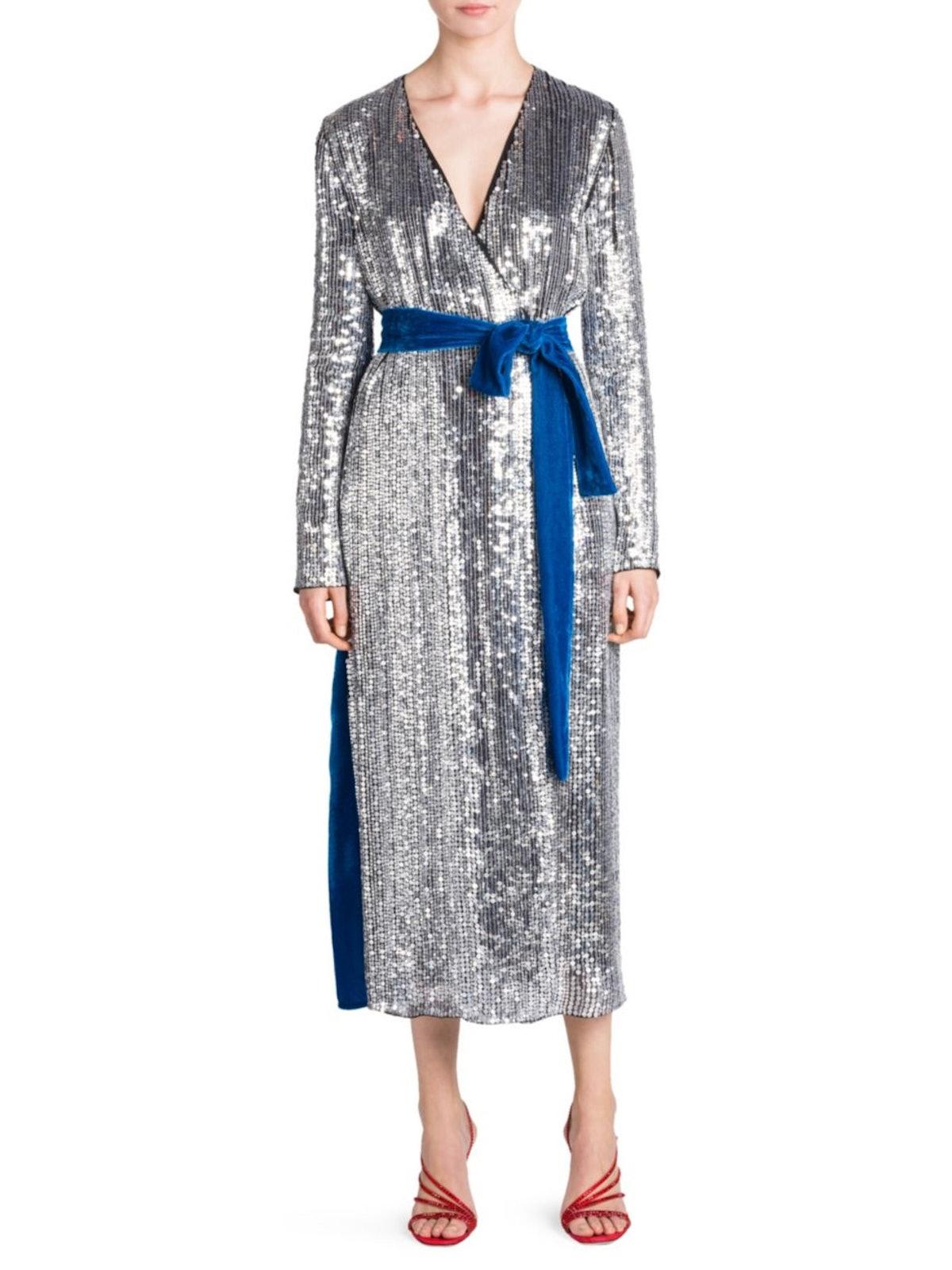Attico Sequin & Velvet Midi Robe Dress