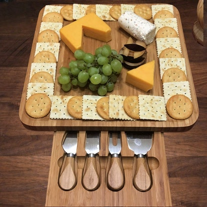 iBambooMart Cheese Board And Cutlery Set