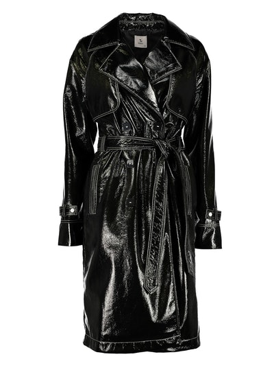 GFW Black Vinyl Effect Trench Coat