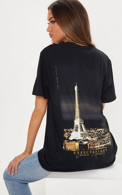 Black Paris Oversized T-Shirt
