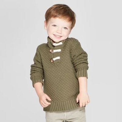 Toddler Boys' Mock Neck Pullover Sweater with Toggle Sweater - Cat & Jack™ Green