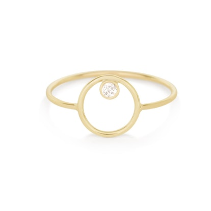 Open Circle Ring with Diamond