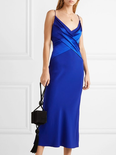 Draped Silk-Satin Midi Dress