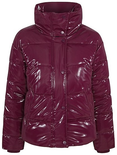 Plum High Shine Padded Coat