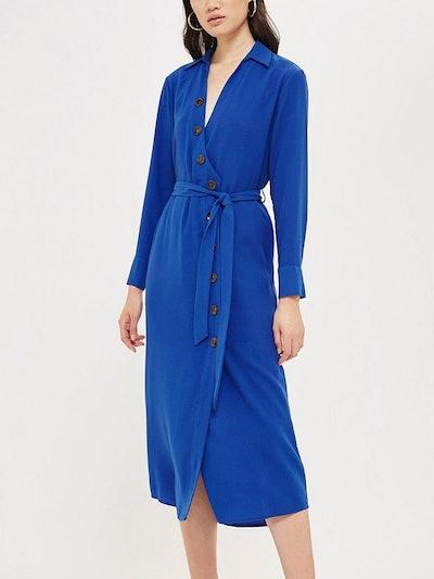 Horn Button Shirt Midi Dress