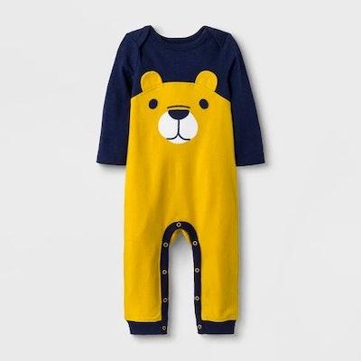 Baby Boys' Long Sleeve Lap Shoulder Bear Romper - Cat & Jack™ Navy/Yellow