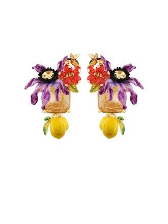 Balad In Versailles Purple Flower On Stone And Lemons Earrings