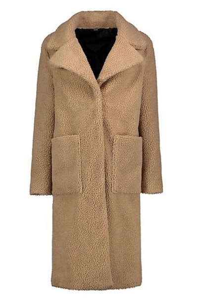 Camel Longline Teddy Coat
