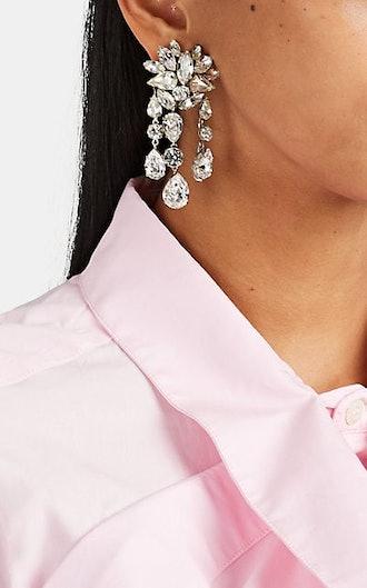 1960s Diamanté Clip-On Drop Earrings