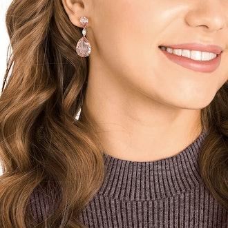 Vintage Pink Drop Pierced Earrings