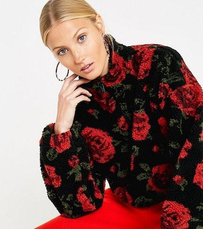 UO Floral Fleece Track Top