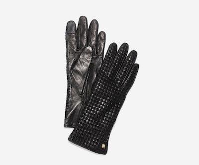 Braided Back Gloves in Black