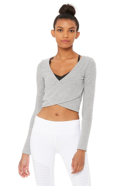 Amelia Luxe Long Sleeve Crop in Dove Grey Heather