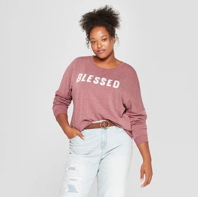 Women's Plus Size Blessed Graphic Sweatshirt