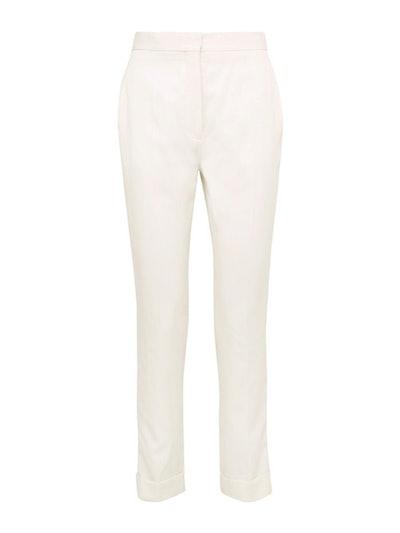 Satin-Trimmed Grain De Poudre Wool Pants