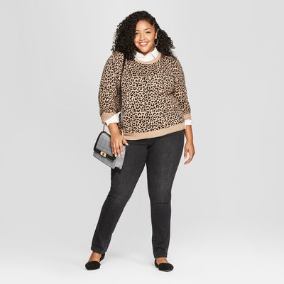 A New Day Women's Plus Size Leopard Print Pullover Sweater