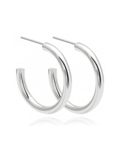 Basic Large Hoop Earrings in Silver