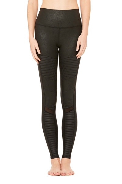 High-Waist Moto Legging in Black