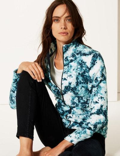 Printed Funnel Neck Fleece Jacket