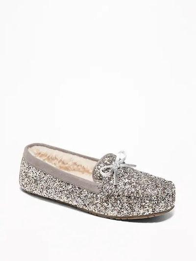 Glitter Sherpa-Lined Slippers