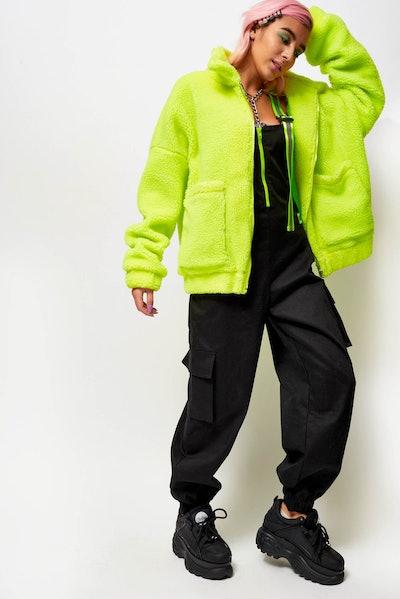Neon Yellow Fleece Jacket With Reflective Zip Puller