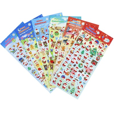 HighMount Christmas Santa Claus Stickers 6 Sheets with Snowman and Reindeer Happy Faces