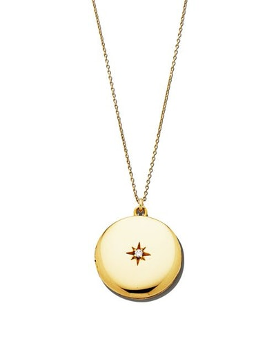14K Yellow Gold Plate Maxine Locket Necklace with Solitaire Cubic Zirconia, 20""
