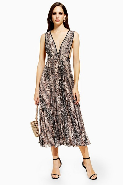 Topshop Snake Pleated Pinafore Dress