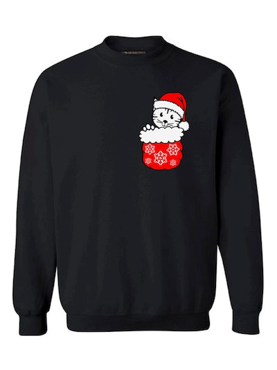 Awkward Styles Pocket Cat Christmas Sweatshirt
