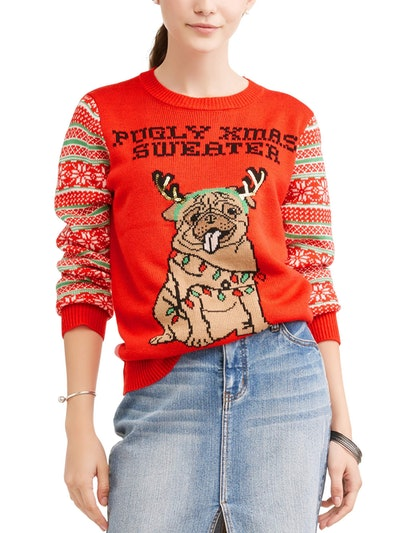 Self Esteem Juniors' Pugly Christmas Sweater