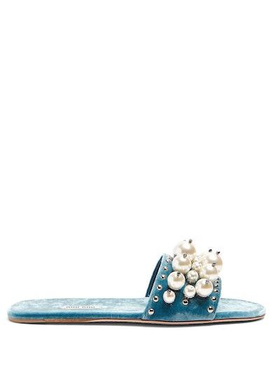Faux-Pearl Embellished Velvet Slides