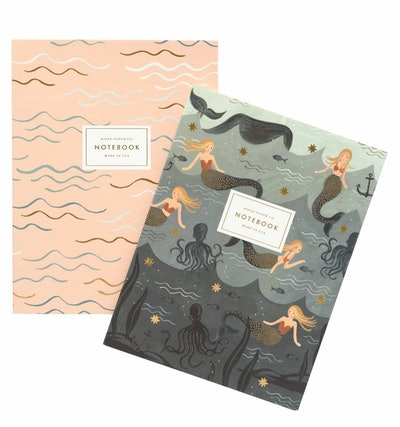 Everyday Notebook Set: Mermaid, Set of Two, with Gold Accents