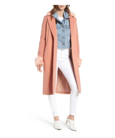 Wayf Perry Faux Fur Trim Coat