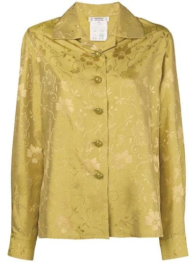 Vintage Floral Jacquard Open Collar Shirt