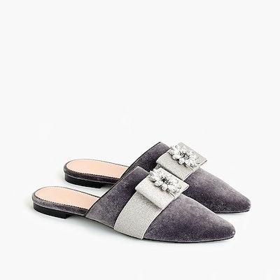 Pointed-Toe Bow Slides in Velvet