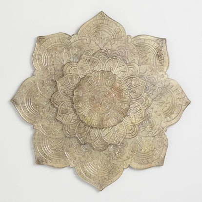 Burnished Metal Lotus Plaque Wall Decor