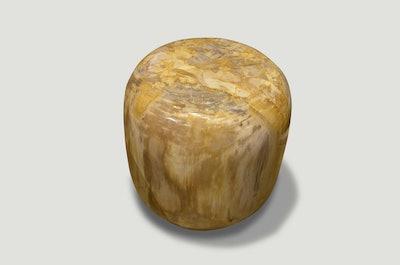 Beige Drum Shape Petrified Wood Side Table