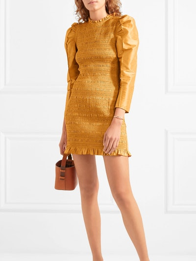 Aurele Shirred Taffeta Mini Dress