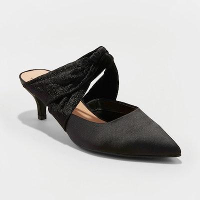 Liane Microsuede Bow Slide Kitten Heel Pumps