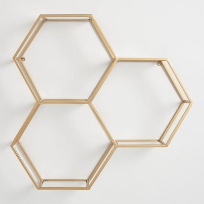 Gold And Glass Honeycomb Wall Shelf