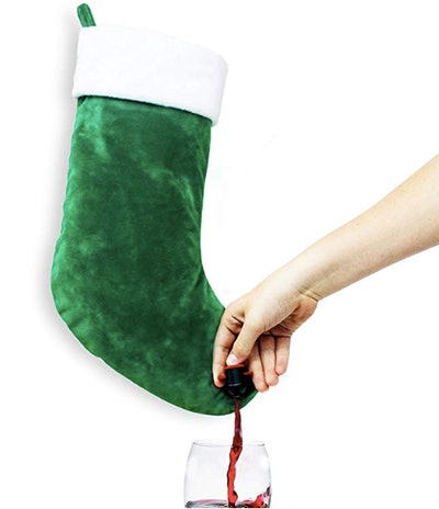 Sneeky Santa Green Stocking Wine Flask Dispenser