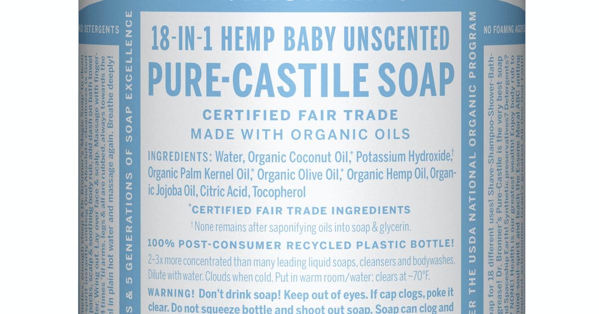 Dr  Bronner's Baby Unscented Pure Castile Liquid Soap 32 oz