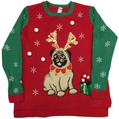 Womens Pug With Antlers Knit Sweater