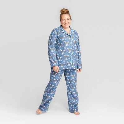 Nite Nite Munki Munki Women's Holiday Moose Notch Collar Pajama Set