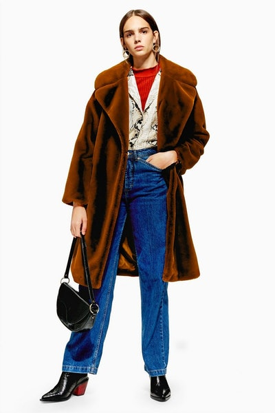 Topshop Belted Velvet Faux Fur Coat
