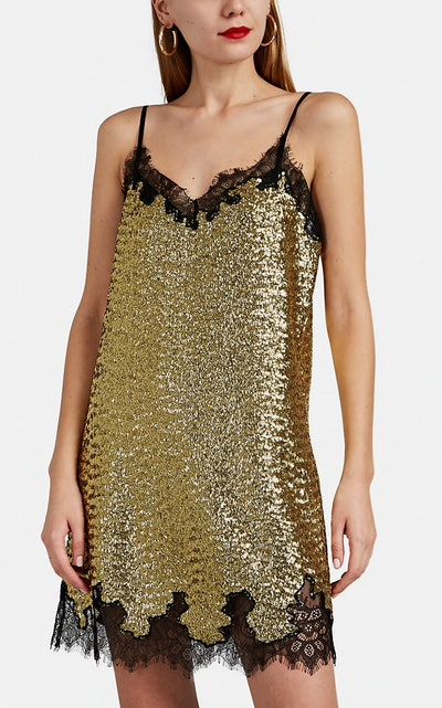 Lace-Trimmed Sequined Slip Dress