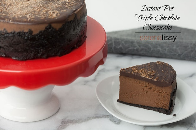 triple chocolate cheesecake recipe you can make in an Instant Pot for Thanksgiving dessert